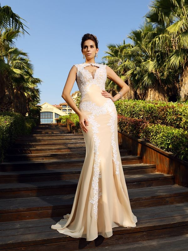 Chiffon High Neck Brush Train Champagne Prom Dresses