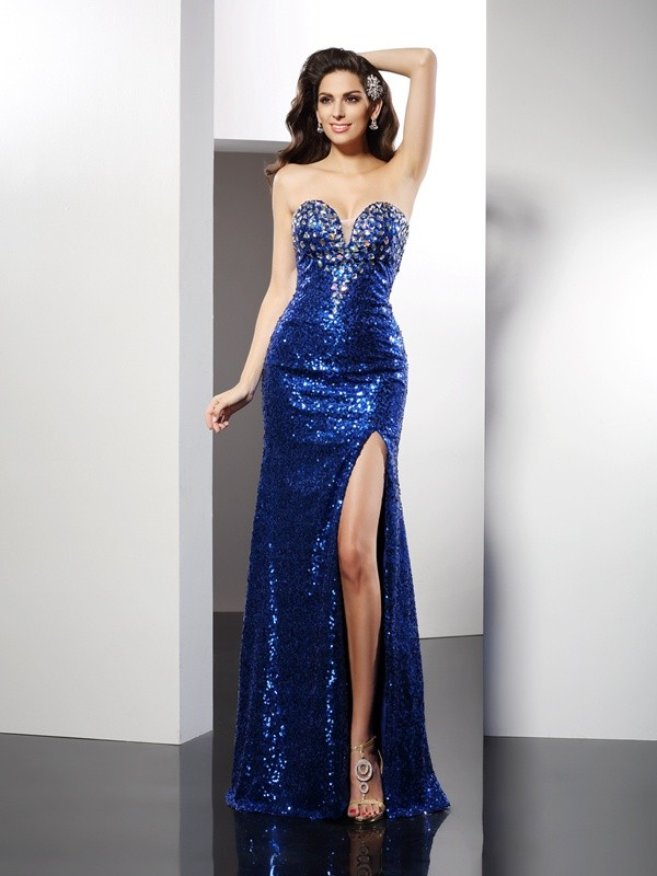 Sheath Sweetheart Floor-Length Royal Blue Prom Dresses with Sequin