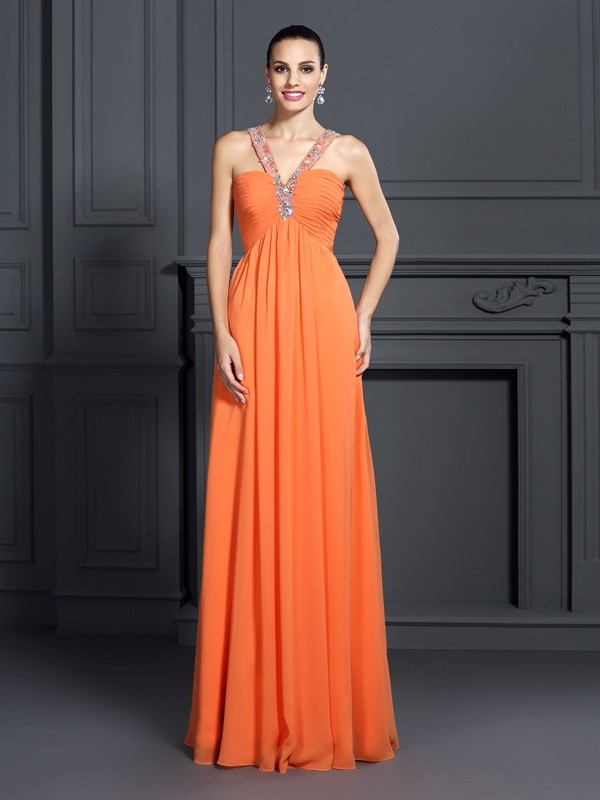 Orange A-Line Halter Floor-Length Prom Dresses with Beading