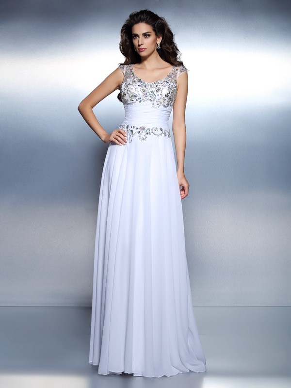 Brush Train White Scoop Prom Dresses with Beading