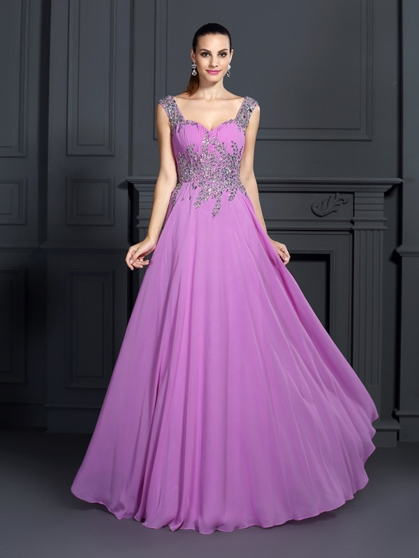 A-Line Straps Floor-Length Regency Prom Dresses with Beading