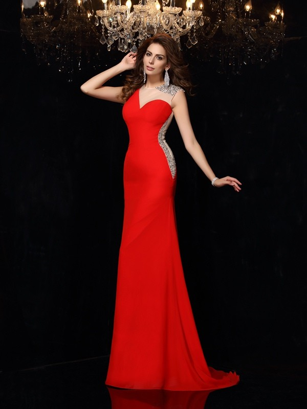 Brush Train Red Scoop Prom Dresses with Beading