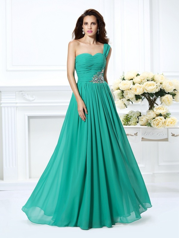 Chiffon A-Line Floor-Length One-Shoulder Green Prom Dresses