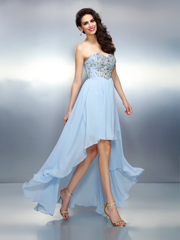 A-Line Chiffon Asymmetrical Light Sky Blue Homecoming Dresses