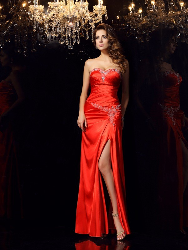Red Sheath Sweetheart Floor-Length Prom Dresses with Beading