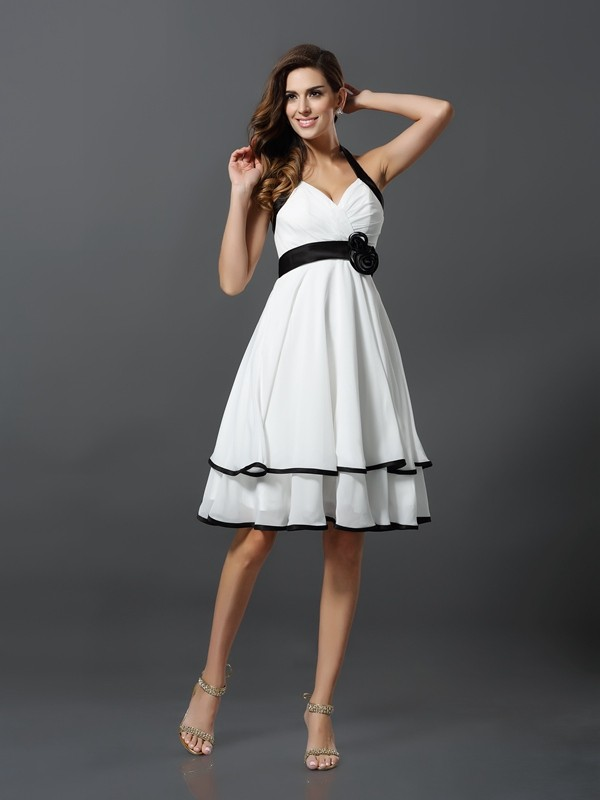 Chiffon Halter Knee-Length Ivory Homecoming Dresses