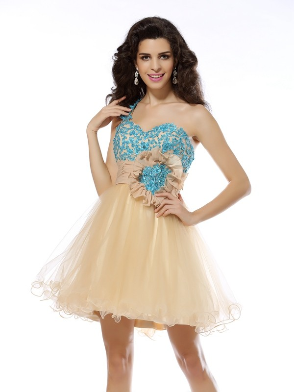 Net One-Shoulder Short/Mini Champagne Homecoming Dresses