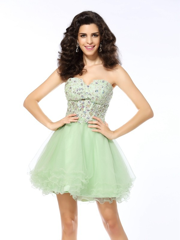 Satin Sweetheart Short/Mini Sage Homecoming Dresses