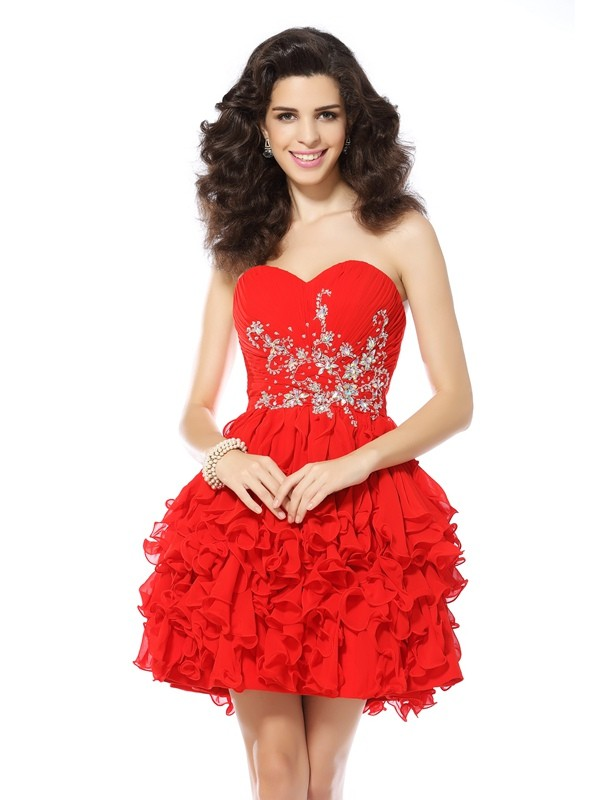 Short/Mini Red Sweetheart Homecoming Dresses with Beading