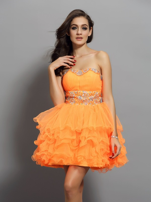 Orange Sweetheart Satin Short/Mini Homecoming Dresses
