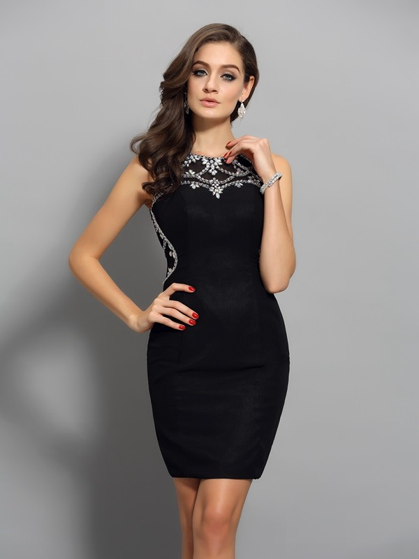 Sheath Scoop Short/Mini Black Homecoming Dresses