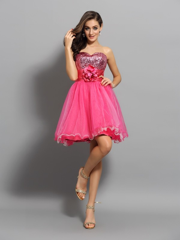 Sweetheart Short/Mini Watermelon Homecoming Dresses with Ruffles
