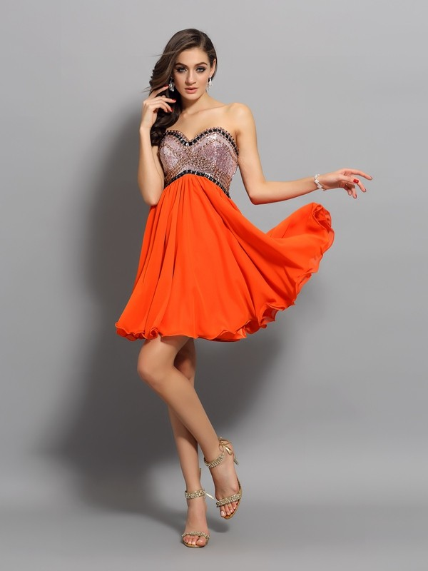Orange Sweetheart Organza Short/Mini Homecoming Dresses