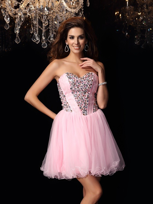 A-Line Sweetheart Short/Mini Pink Homecoming Dresses