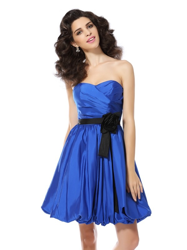 Royal Blue Short/Mini Homecoming Dresses with Hand-Made Flower
