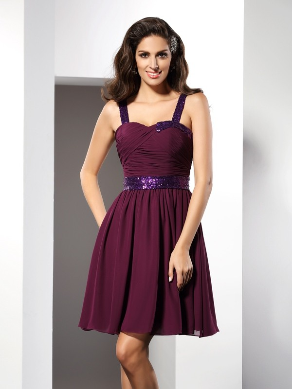 A-Line Straps Short/Mini Grape Homecoming Dresses with Ruched