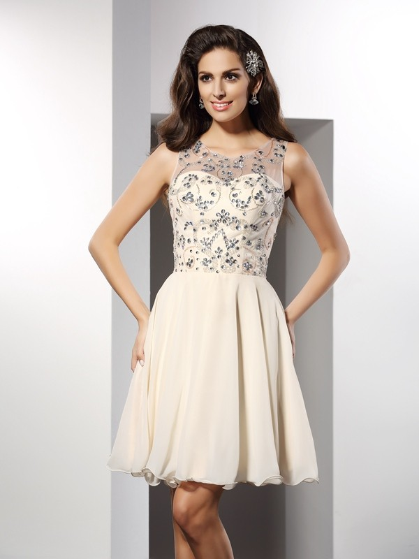A-Line Chiffon Bateau Short/Mini Champagne Homecoming Dresses