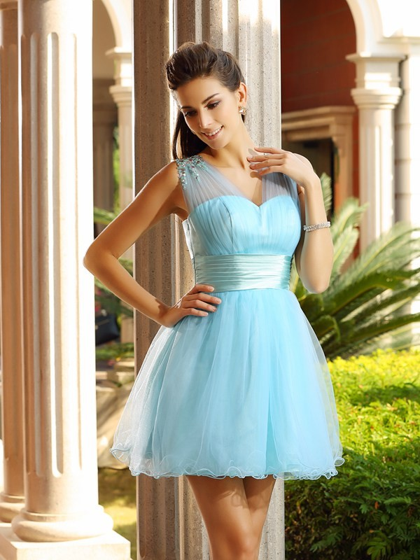 Net V-neck Short/Mini Light Sky Blue Homecoming Dresses