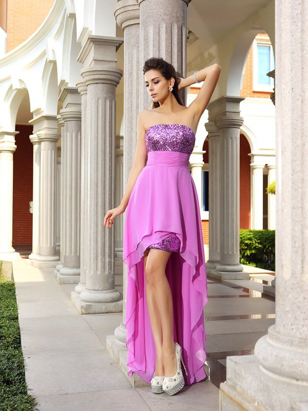 Fuchsia Strapless Asymmetrical Homecoming Dresses with Beading