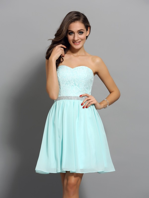 Blue Sweetheart Chiffon Short/Mini Homecoming Dresses