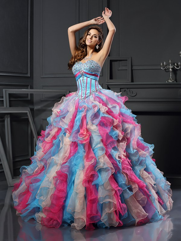 Ball Gown Sweetheart Floor-Length Multi Colors Prom Dresses