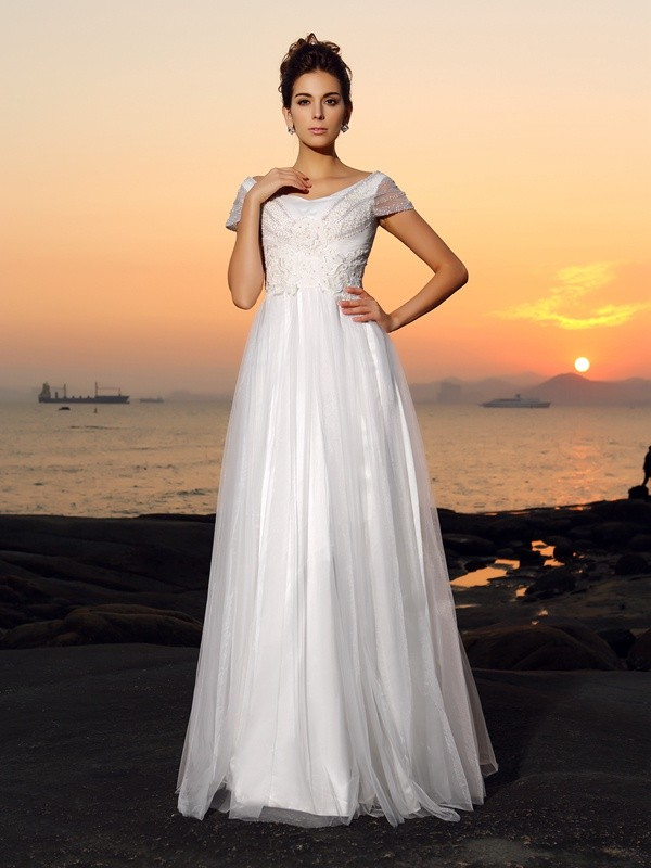 Tulle Short Sleeves Off-the-Shoulder Floor-Length Ivory Wedding Dresses