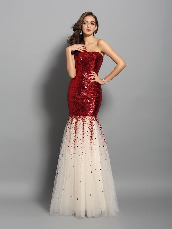 Sequins Mermaid Floor-Length One-Shoulder Red Prom Dresses