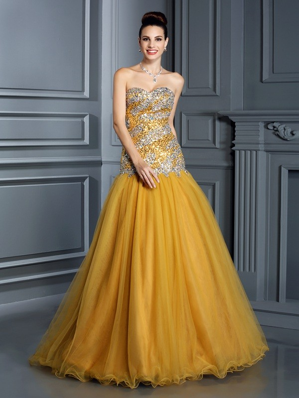A-Line Sweetheart Floor-Length Yellow Prom Dresses with Ruffles