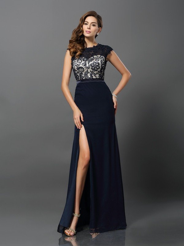 Sheath Chiffon Short Sleeves Jewel Floor-Length Dark Navy Prom Dresses