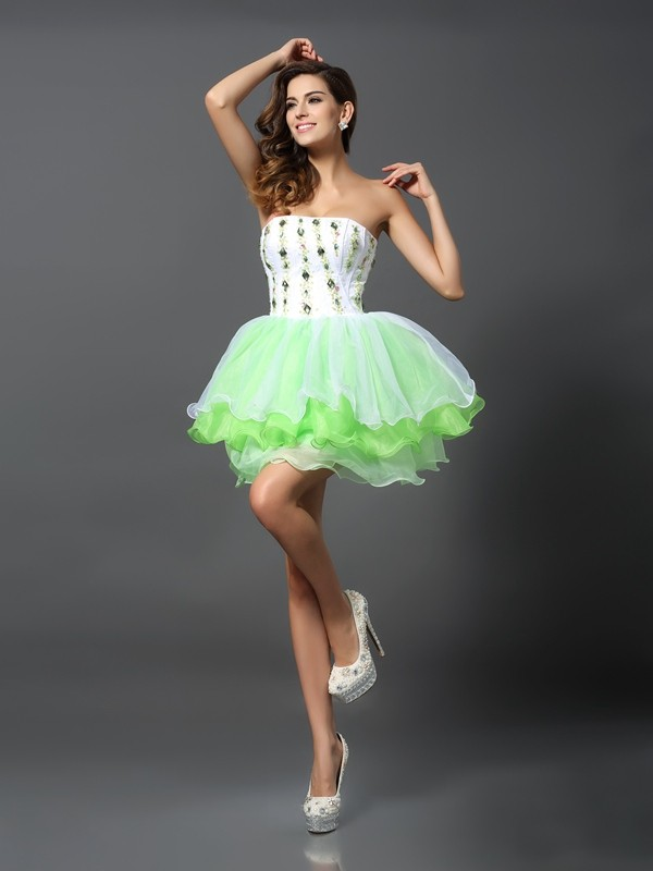 A-Line Strapless Short/Mini Sage Homecoming Dresses