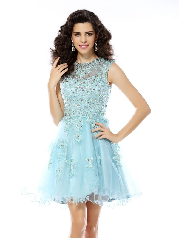 Scoop Short/Mini Blue Homecoming Dresses with Beading