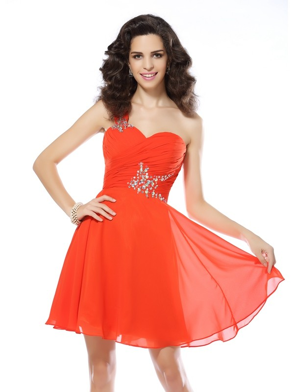 Chiffon One-Shoulder Short/Mini Orange Homecoming Dresses