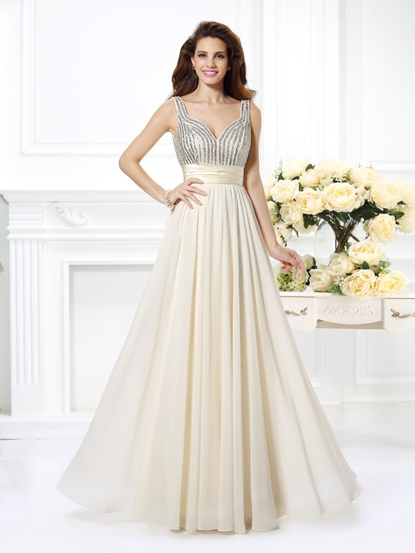 Floor-Length Ivory Straps Prom Dresses with Beading