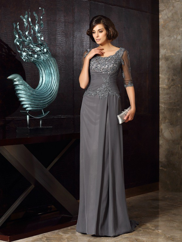 Floor-Length Half Sleeves Scoop Grey Mother of the Bride Dresses