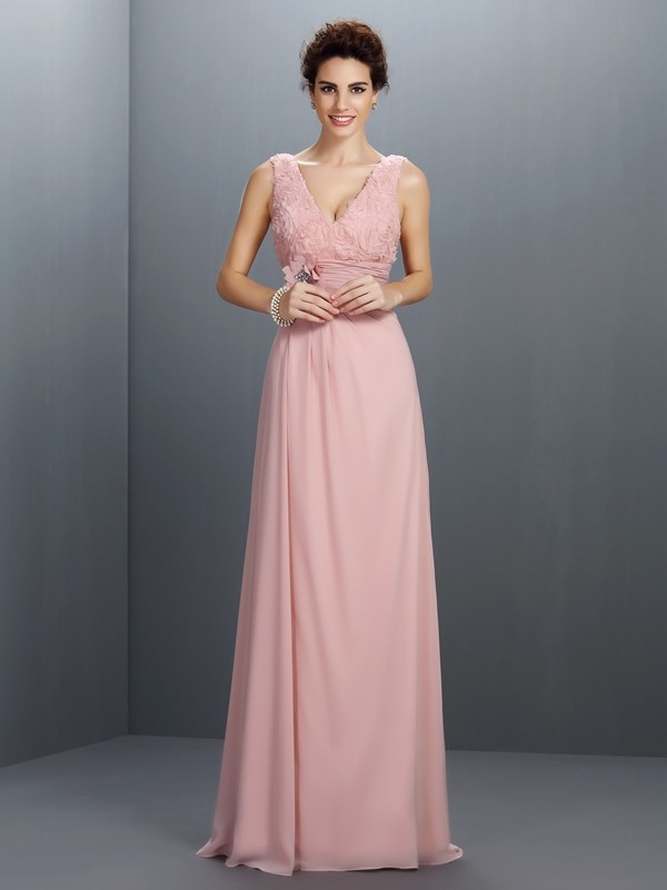 Chiffon V-neck Brush Train Pearl Pink Prom Dresses