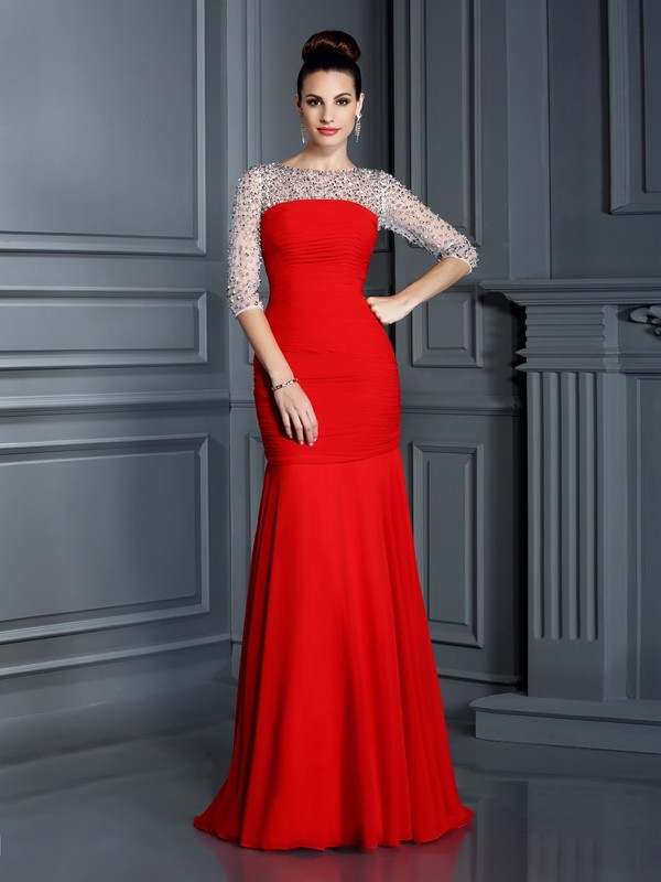 Mermaid Scoop Floor-Length Red Prom Dresses with Beading