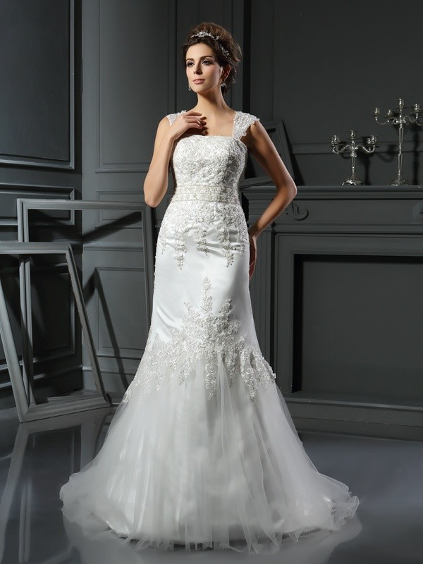 Mermaid Straps Court Train Ivory Wedding Dresses with Applique