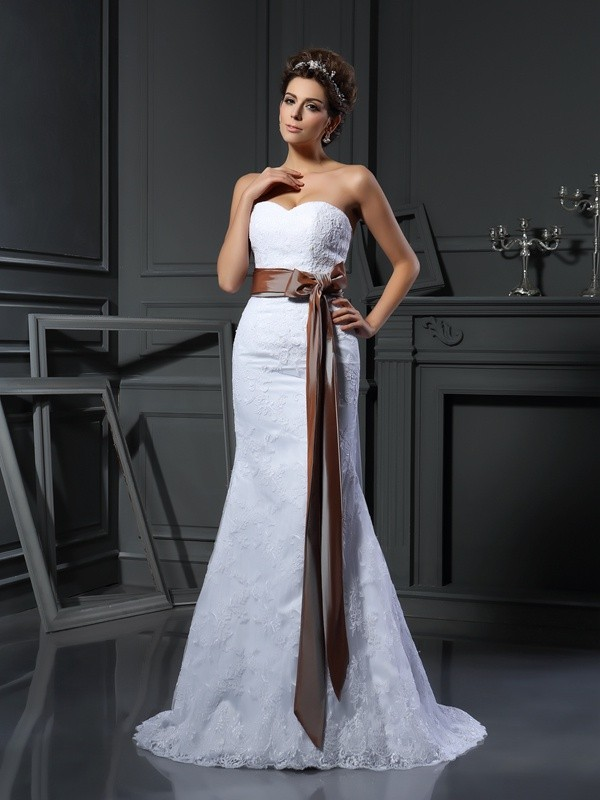 Sheath Sweetheart Court Train White Wedding Dresses