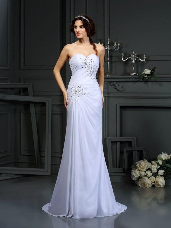 White Sheath Sweetheart Brush Train Wedding Dresses with Beading