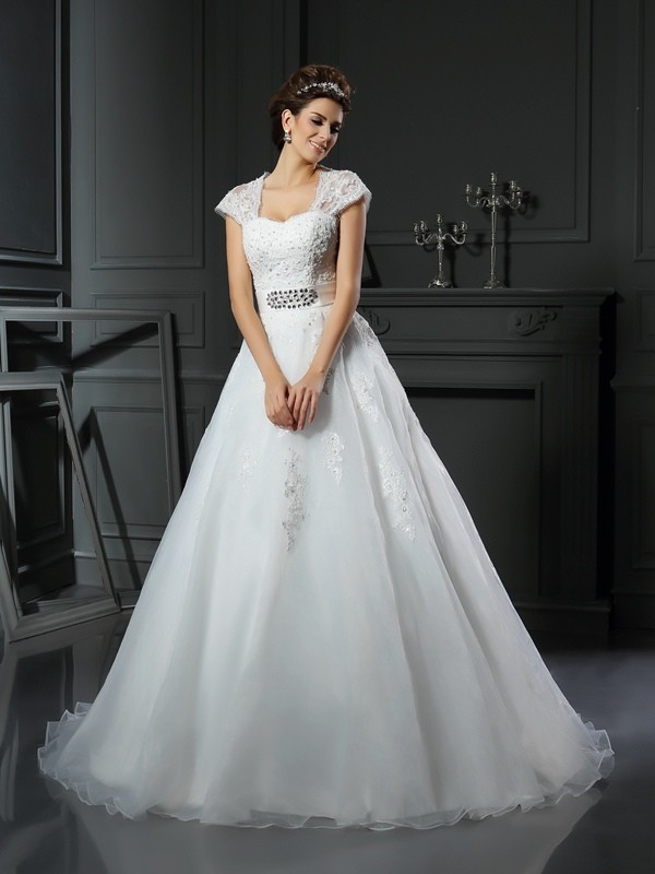 Organza Ball Gown Chapel Train Square White Wedding Dresses