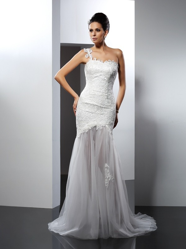 White Mermaid One-Shoulder Chapel Train Wedding Dresses with Lace