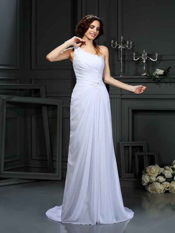 A-Line Chiffon One-Shoulder Court Train White Wedding Dresses