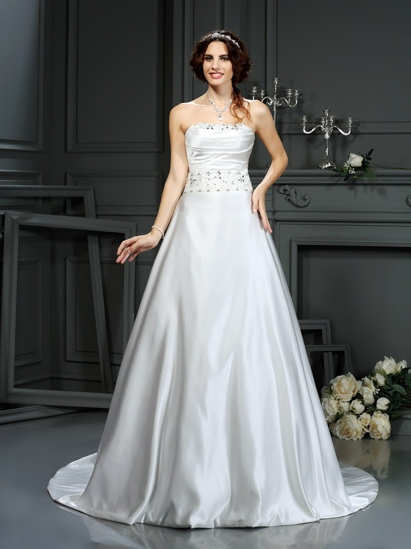 Satin Strapless Court Train Ivory Wedding Dresses