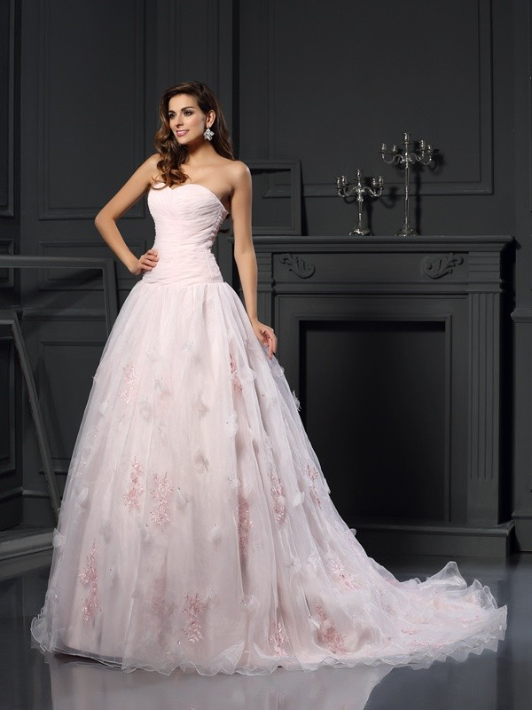 Ball Gown Satin Sweetheart Chapel Train Wedding Dresses with Ruffles
