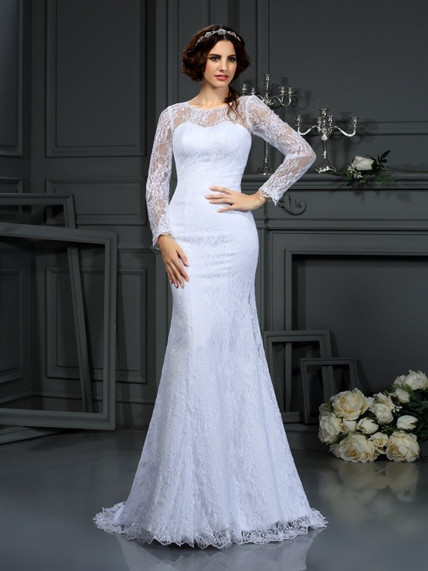 Long Sleeves Scoop Court Train White Wedding Dresses with Lace
