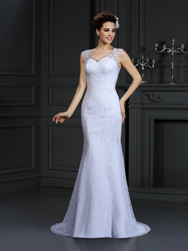Sheath Satin V-neck Court Train Wedding Dresses with Lace