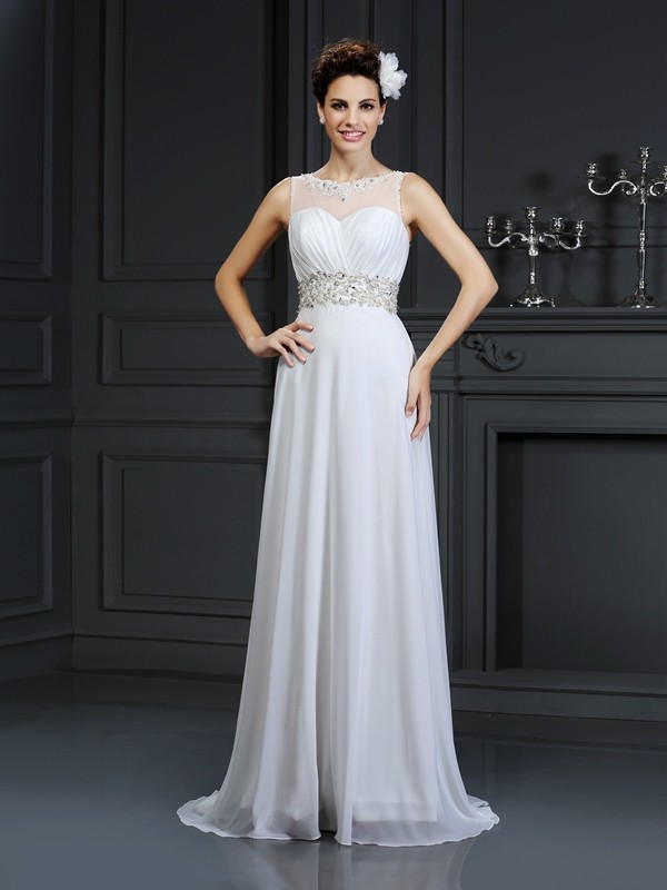 White A-Line Bateau Chapel Train Wedding Dresses with Ruffles