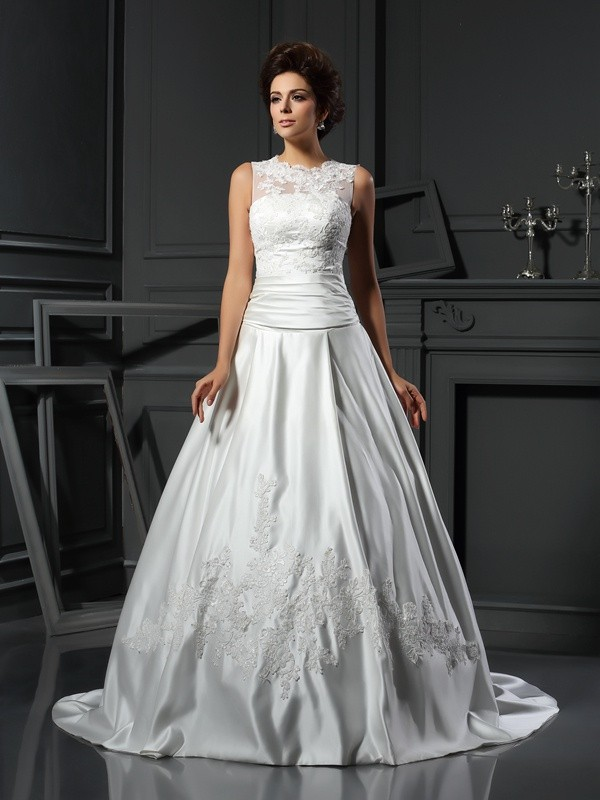 A-Line Satin High Neck Chapel Train Ivory Wedding Dresses