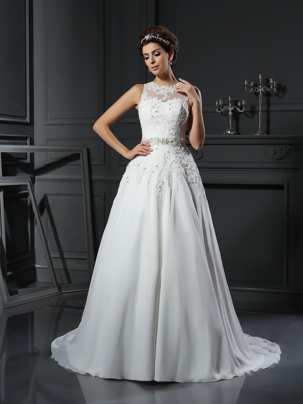 Satin High Neck Chapel Train Ivory Wedding Dresses