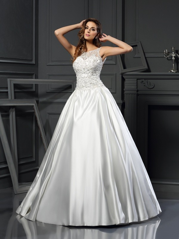 Ball Gown Satin Scoop Chapel Train Wedding Dresses with Applique